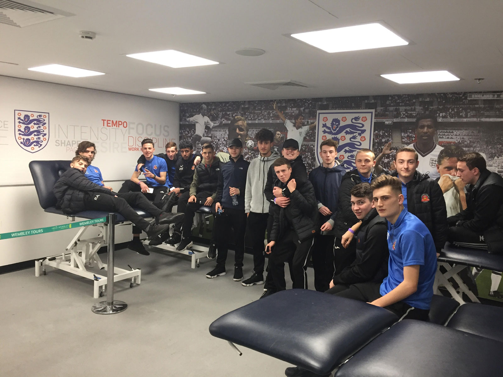 Lichfield City FC Academy visit Wembley & England football Changing rooms